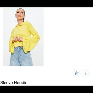 6e4ffec1fd1 Missguided Tops   Misguided Yellow Crop Hoodie Bell Flare Sleeve ...